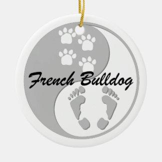 yin yang french bulldog ceramic ornament