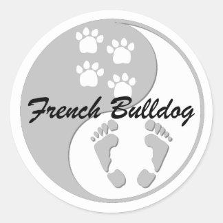yin yang french bulldog classic round sticker