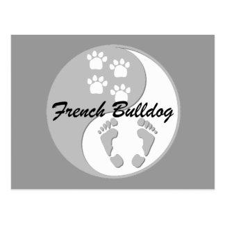 yin yang french bulldog postcard