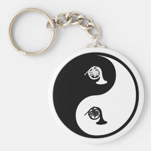 Yin Yang French Horn Key Chain