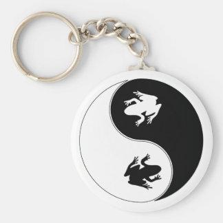 Yin Yang Frog Basic Round Button Keychain