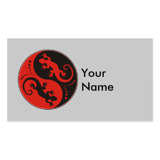 YIN & YANG Geckos black red + your background idea Business Card