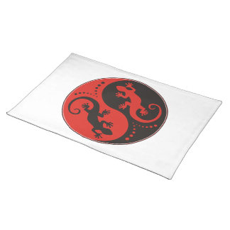 YIN & YANG Geckos black red + your background idea Cloth Placemat