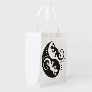 YIN & YANG Geckos black + your background & idea Grocery Bag
