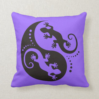 YIN & YANG Geckos black + your background & idea Pillow