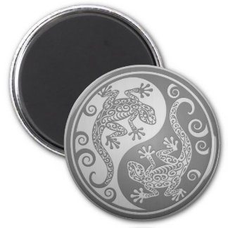 Yin Yang Geckos, Stainless Steel Effect 2 Inch Round Magnet
