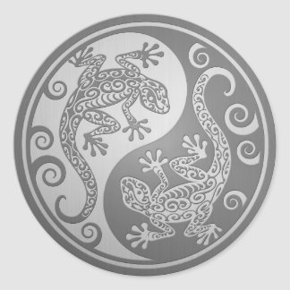 Yin Yang Geckos, Stainless Steel Effect Classic Round Sticker