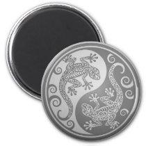 Yin Yang Geckos, Stainless Steel Effect Magnet