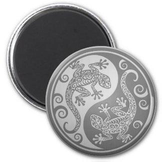Yin Yang Geckos, Stainless Steel Effect Fridge Magnets