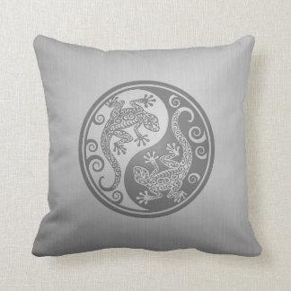 Yin Yang Geckos, Stainless Steel Effect Throw Pillows