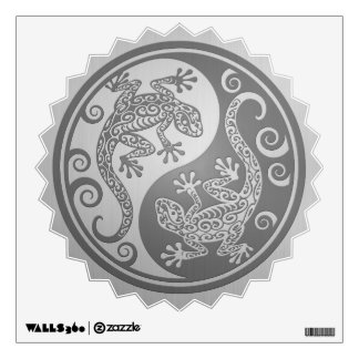 Yin Yang Geckos, Stainless Steel Effect Wall Decal