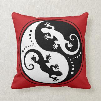 YIN & YANG Geckos white + your background & idea Throw Pillows