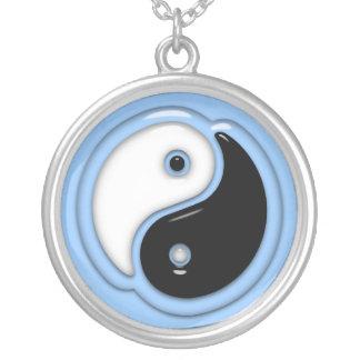 Yin Yang Glass Blue Round Pendant Necklace