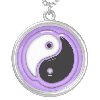 Yin Yang Glass Purple Round Pendant Necklace