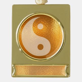 yin yang gold balance Banner Ornament Silver