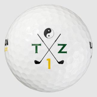yin yang golfer . initials personalized golf balls