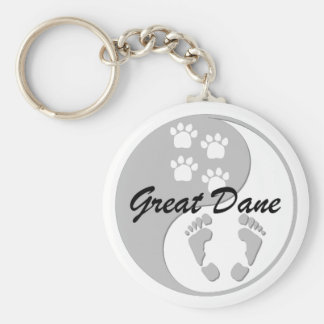yin yang great dane keychain
