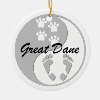 yin yang great dane christmas ornament