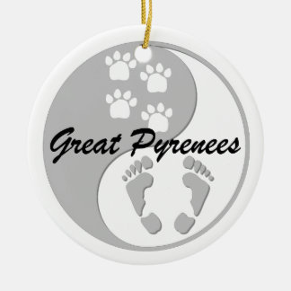 yin yang great pyrenees ceramic ornament