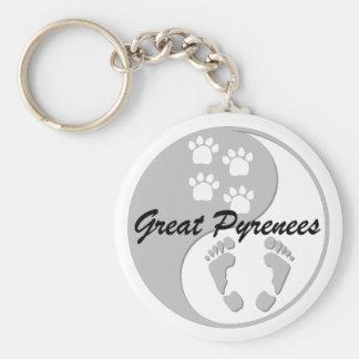 yin yang great pyrenees keychain
