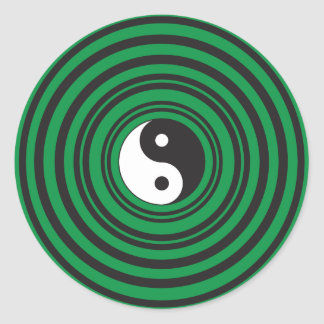 Yin Yang Green Concentric Circles Ripples Rings Classic Round Sticker