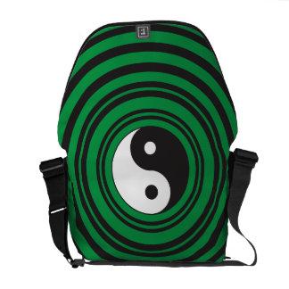 Yin Yang Green Concentric Circles Ripples Rings Messenger Bag