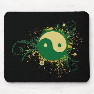 Yin Yang Green Floral Mouse Pad