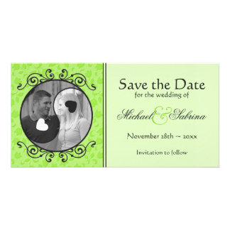Yin & Yang Green Floral Save the Date Photo Card