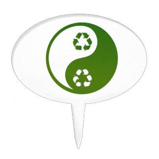yin yang green recycle ecology theme.png cake topper