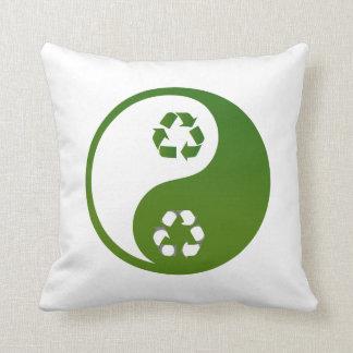 yin yang green recycle ecology theme.png throw pillow