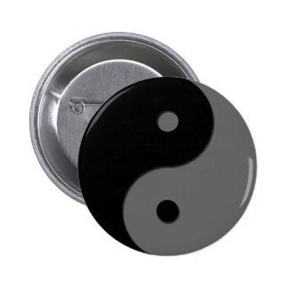Yin Yang - gris 1 Pin Redondo De 2 Pulgadas