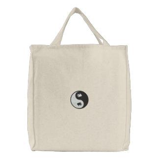 Yin Yang Hand Prints Embroidered Bag