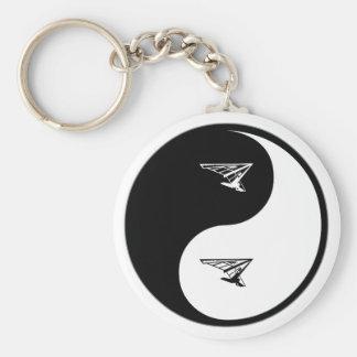 Yin Yang Hang Gliding Basic Round Button Keychain
