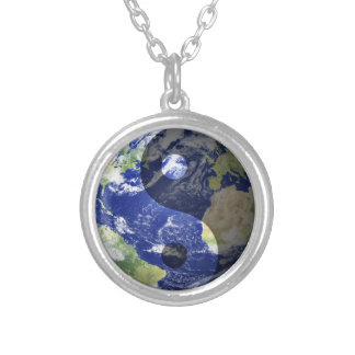 Yin-Yang Harmony on Our Planet Round Pendant Necklace