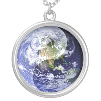 Yin-Yang Harmony on Our Planet Silver Plated Necklace