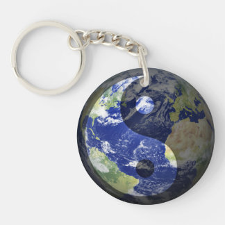 Yin-Yang Harmony Peace on Our Planet Keychain