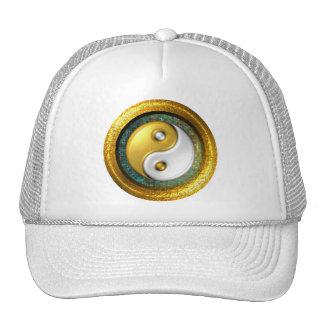 Yin-Yang Hat, Golden Ring on blue green mosaic Trucker Hat