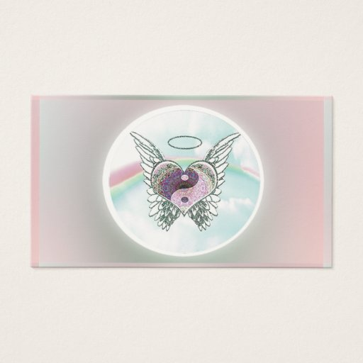 Yin Yang Heart Angel in Pastel Colors Business Card