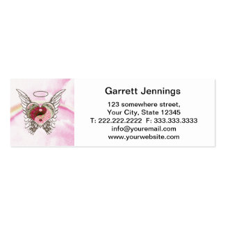 Yin Yang Heart Angel Wings Watercolor Double-Sided Mini Business Cards (Pack Of 20)