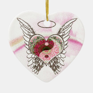 Yin Yang Heart Angel Wings Watercolor Ceramic Ornament
