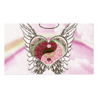 Yin Yang Heart Angel Wings Watercolor Double-Sided Standard Business Cards (Pack Of 100)