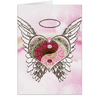 Yin Yang Heart Angel Wings Watercolor Greeting Card