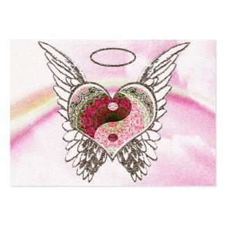 Yin Yang Heart Angel Wings Watercolor Large Business Card