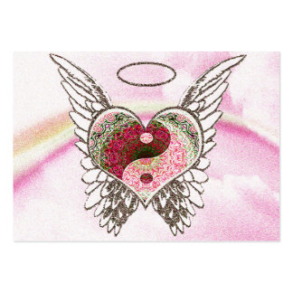 Yin Yang Heart Angel Wings Watercolor Large Business Cards (Pack Of 100)
