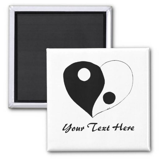 Yin Yang Heart (B/W) Fridge Magnet