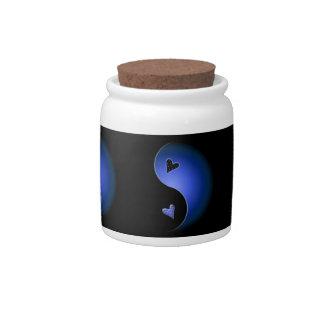 yin yang heart - blue candy dishes