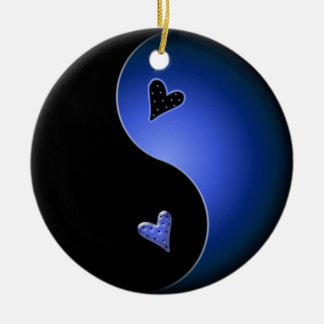 yin yang heart - blue ceramic ornament