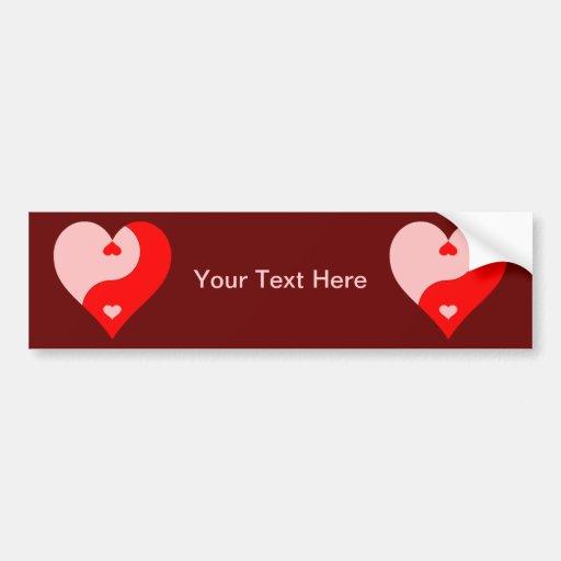 Yin Yang Heart Car Bumper Sticker