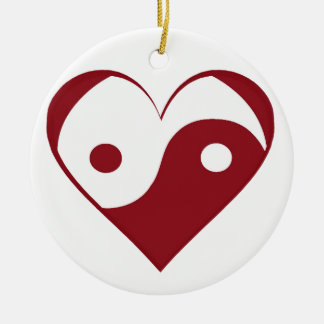 Yin Yang heart Ceramic Ornament
