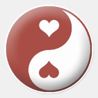 Yin Yang Heart Classic Round Sticker